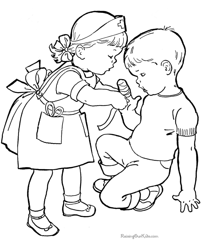 free online coloring pages - kids helping each other coloring page