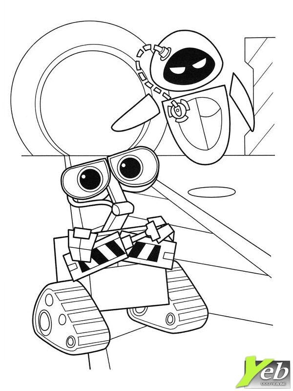 free power ranger coloring pages - wall e et eve se disputent