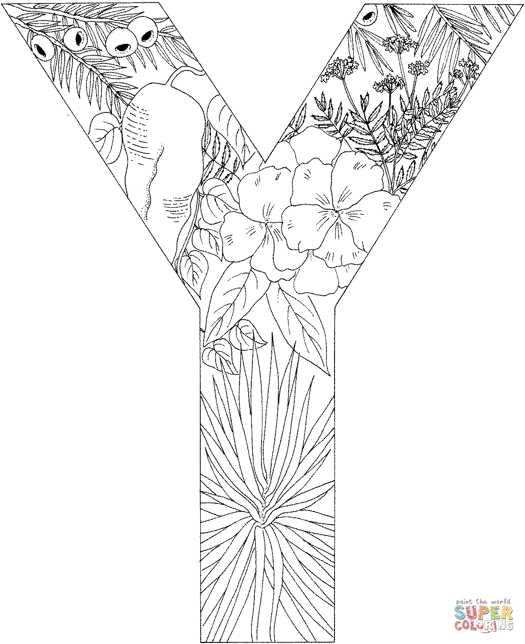 free printable coloring pages for adults advanced - the letter y coloring pages