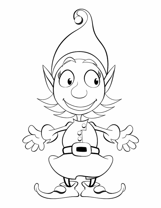Free Printable Coloring Pages for Girls - Girl Christmas Elf Print Coloring Pages Free Printable