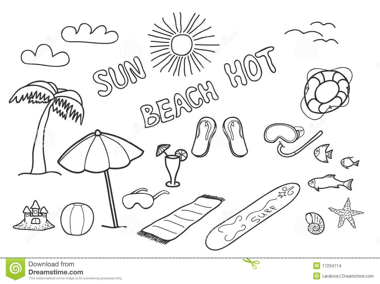 free printable flower coloring pages for adults - stock images beach doodles image