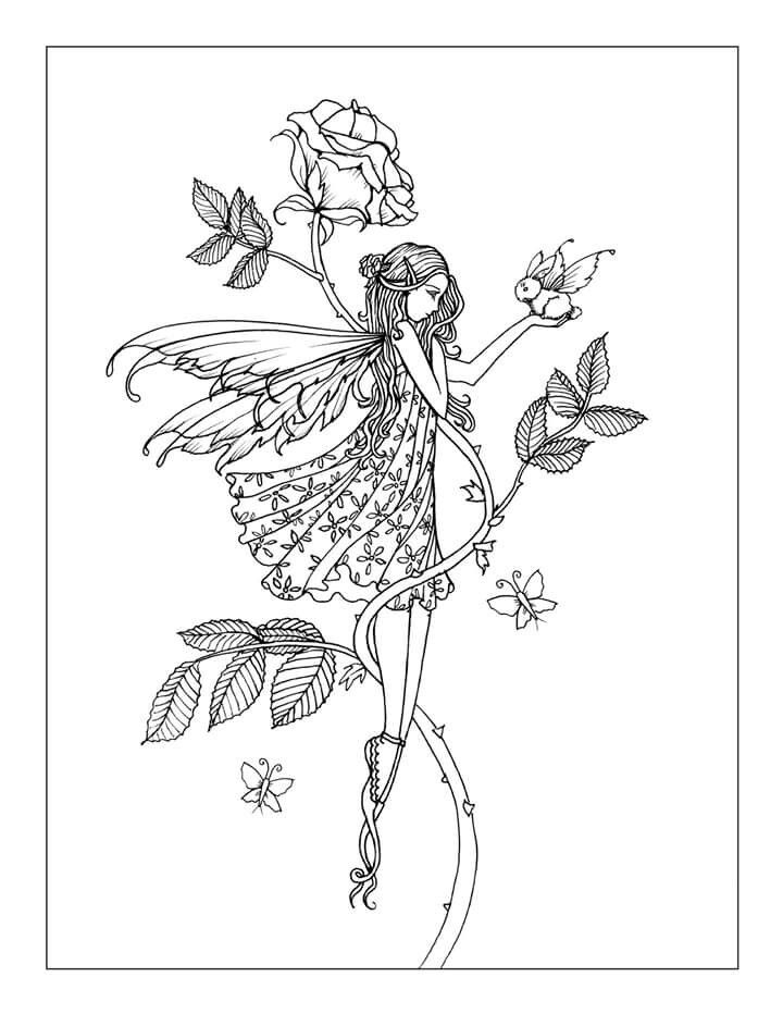 free printable flower coloring pages for adults - fairy coloring pages