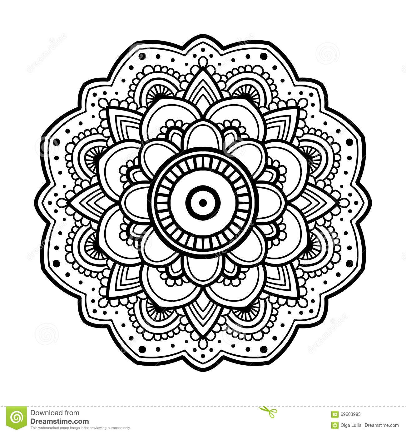free printable flower coloring pages for adults - ilustracji prosty kwiecisty mandala image