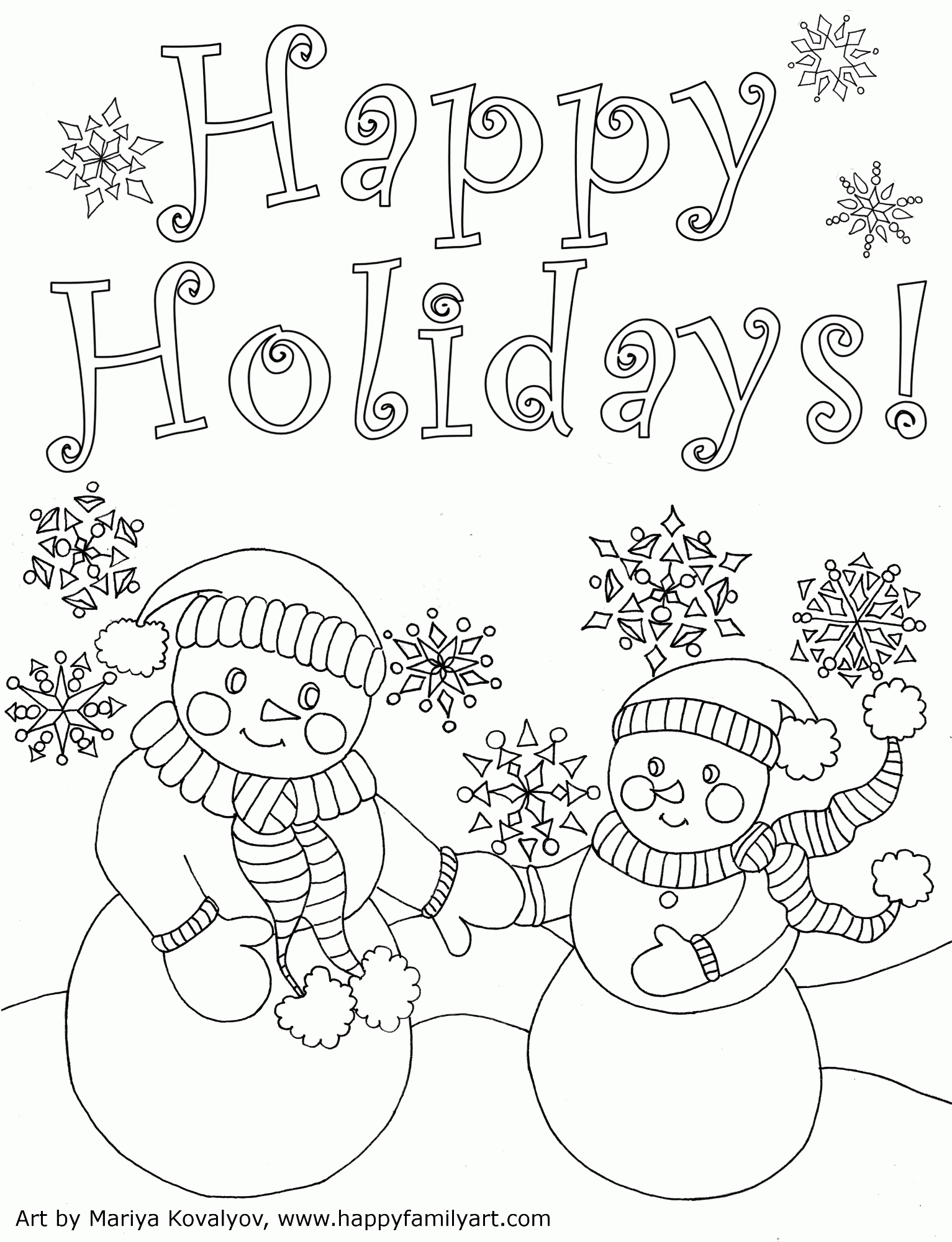 free printable holiday coloring pages - happy holidays coloring pages printable
