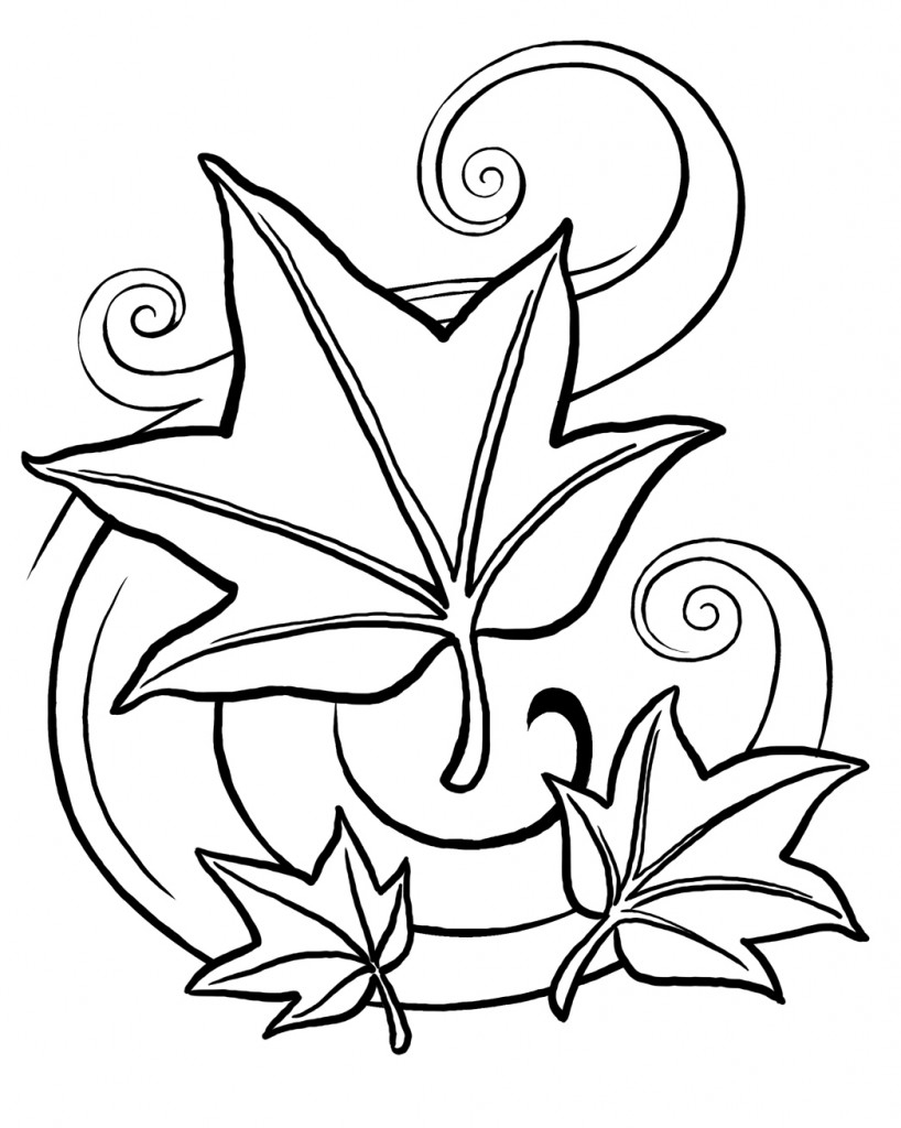 free printable leaf coloring pages - leaf coloring pages