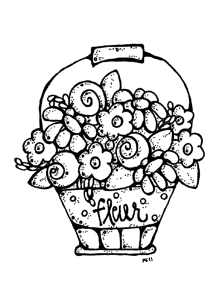 free printable mothers day coloring pages - cartoon bouquet of flowers