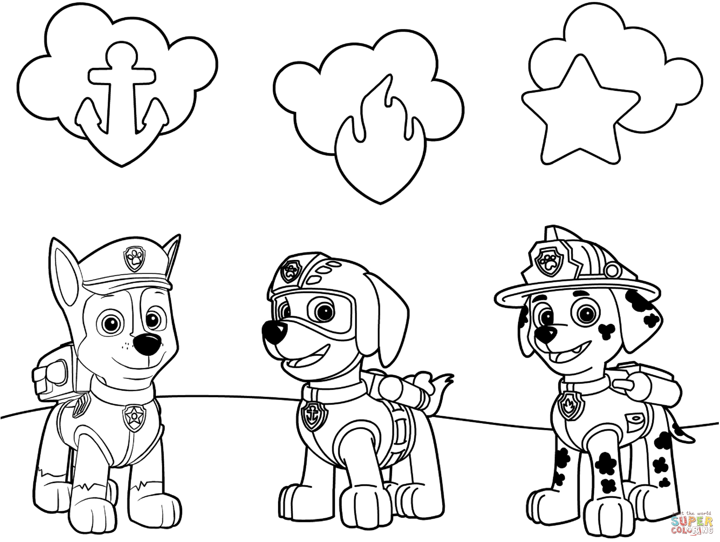 free printable paw patrol coloring pages - paw patrol badges