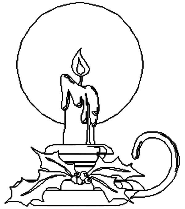 free printable princess coloring pages - christmas candle with holder coloring pages
