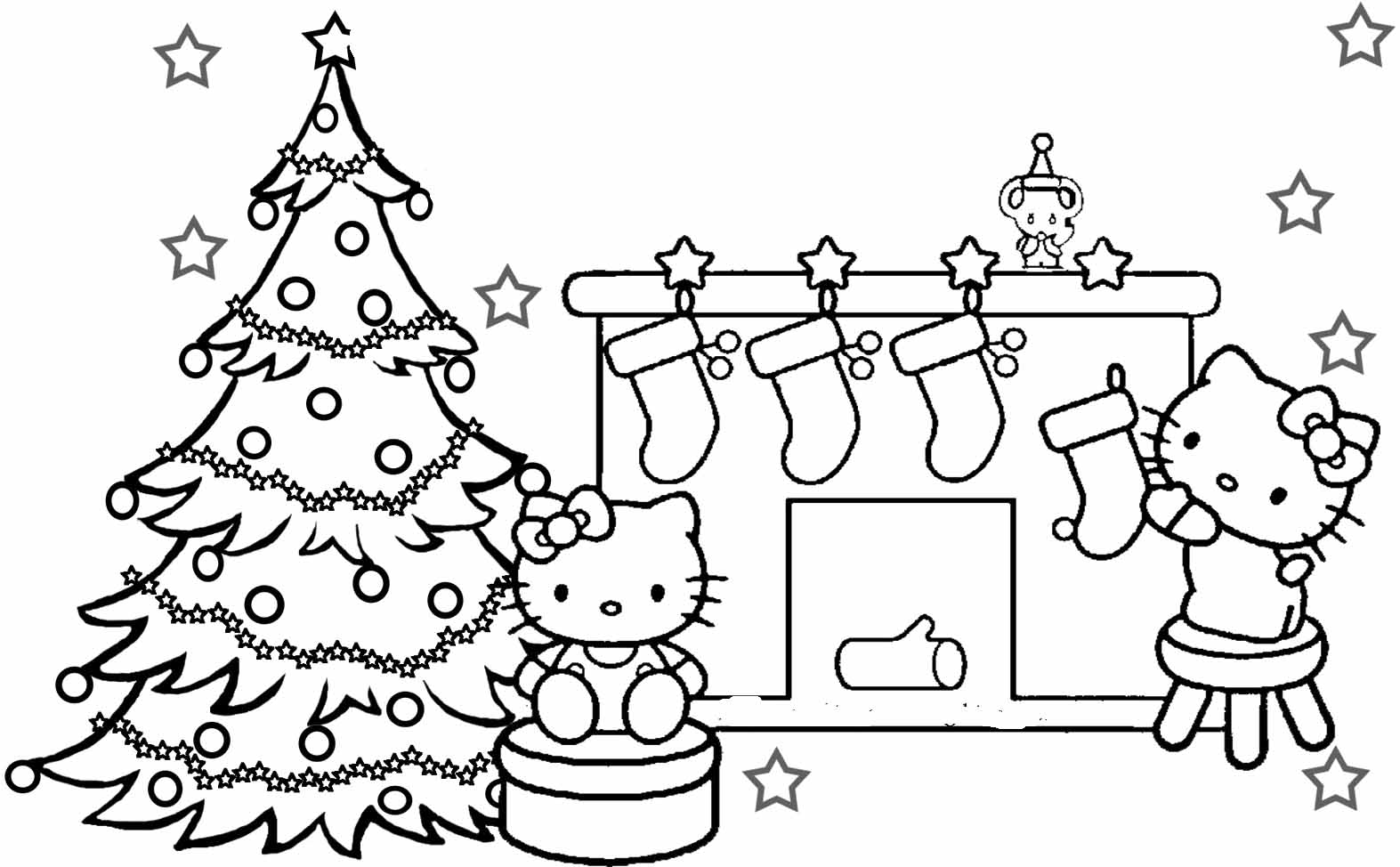 free printable princess coloring pages - hello kitty coloring pages christmas