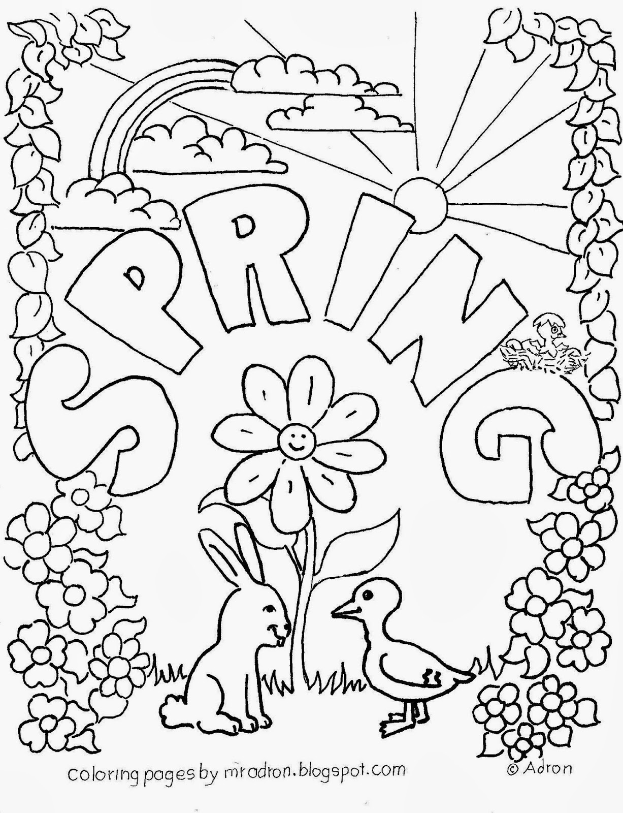 free printable spring coloring pages - spring free coloring page for kids
