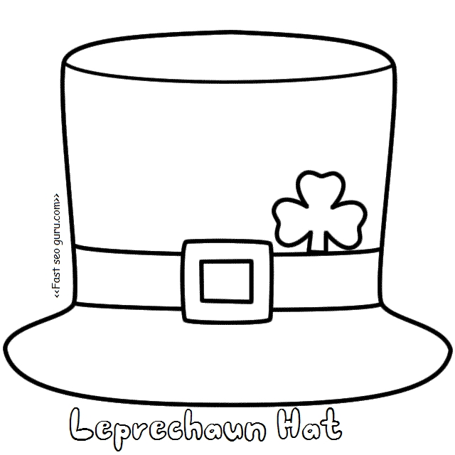 free printable st patrick day coloring pages - printable leprechaun hat coloring pages