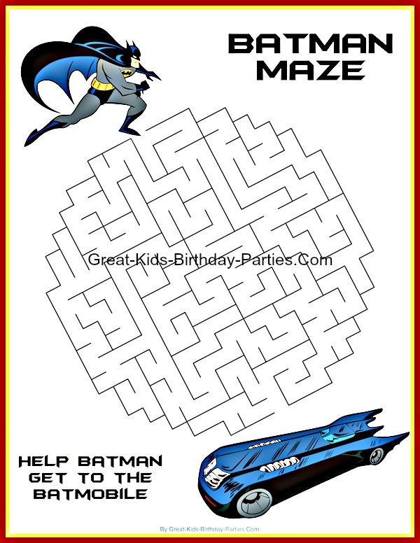 free printable superhero coloring pages - batman mazes colouring pages