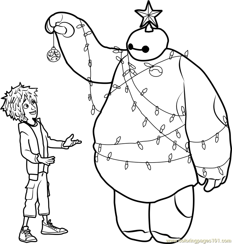 free printable superhero coloring pages - hiro and baymax christmas coloring page