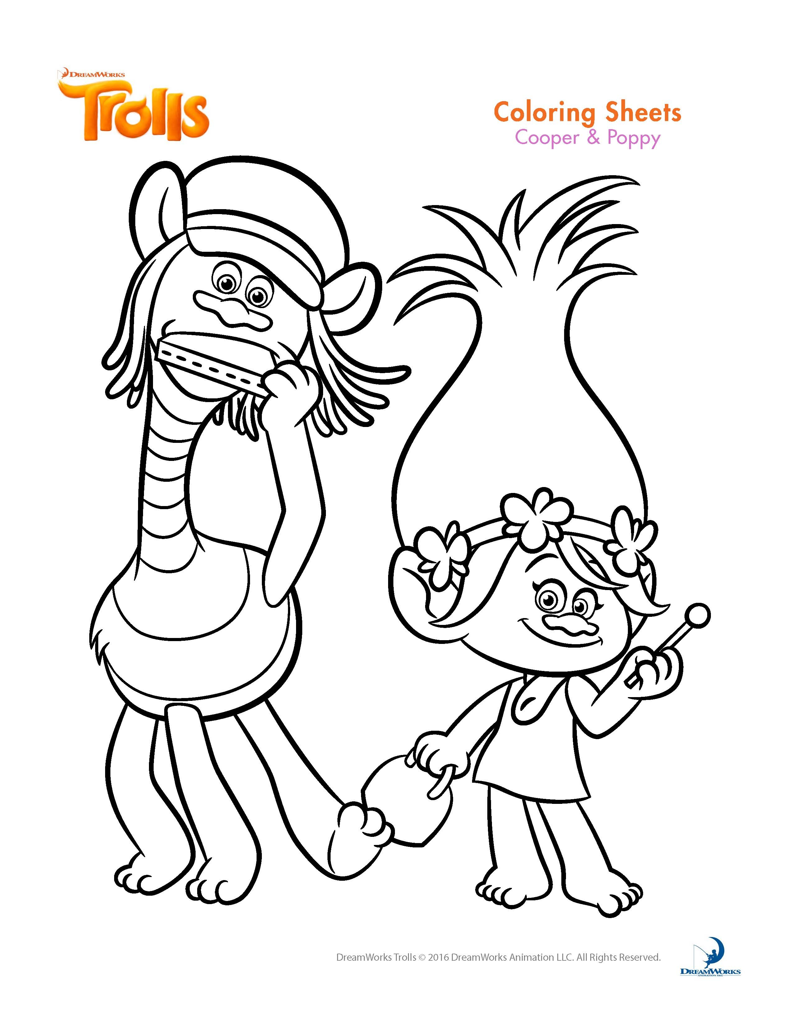 free printable troll coloring pages - trolls coloring sheets
