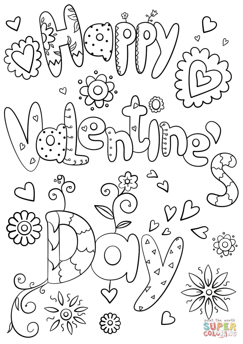 free printable valentines day coloring pages - happy valentines day