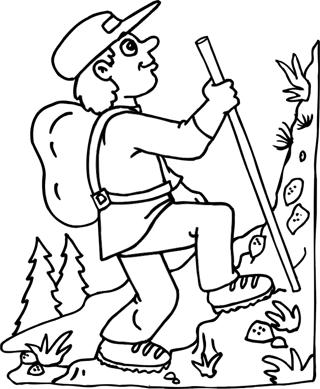 free spring coloring pages - hiking mountain in summer coloring