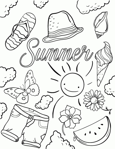 free summer coloring pages - free summer coloring pages printable on free printable summer coloring pages for kids