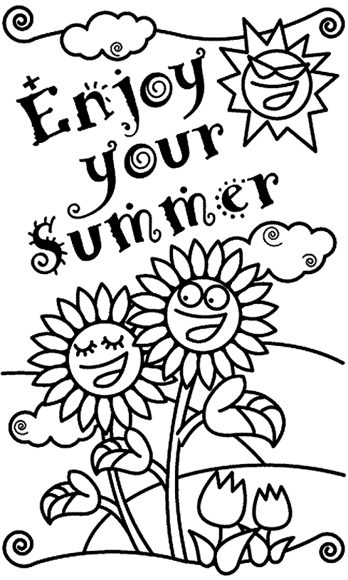free summer coloring pages - summer holiday coloring pages