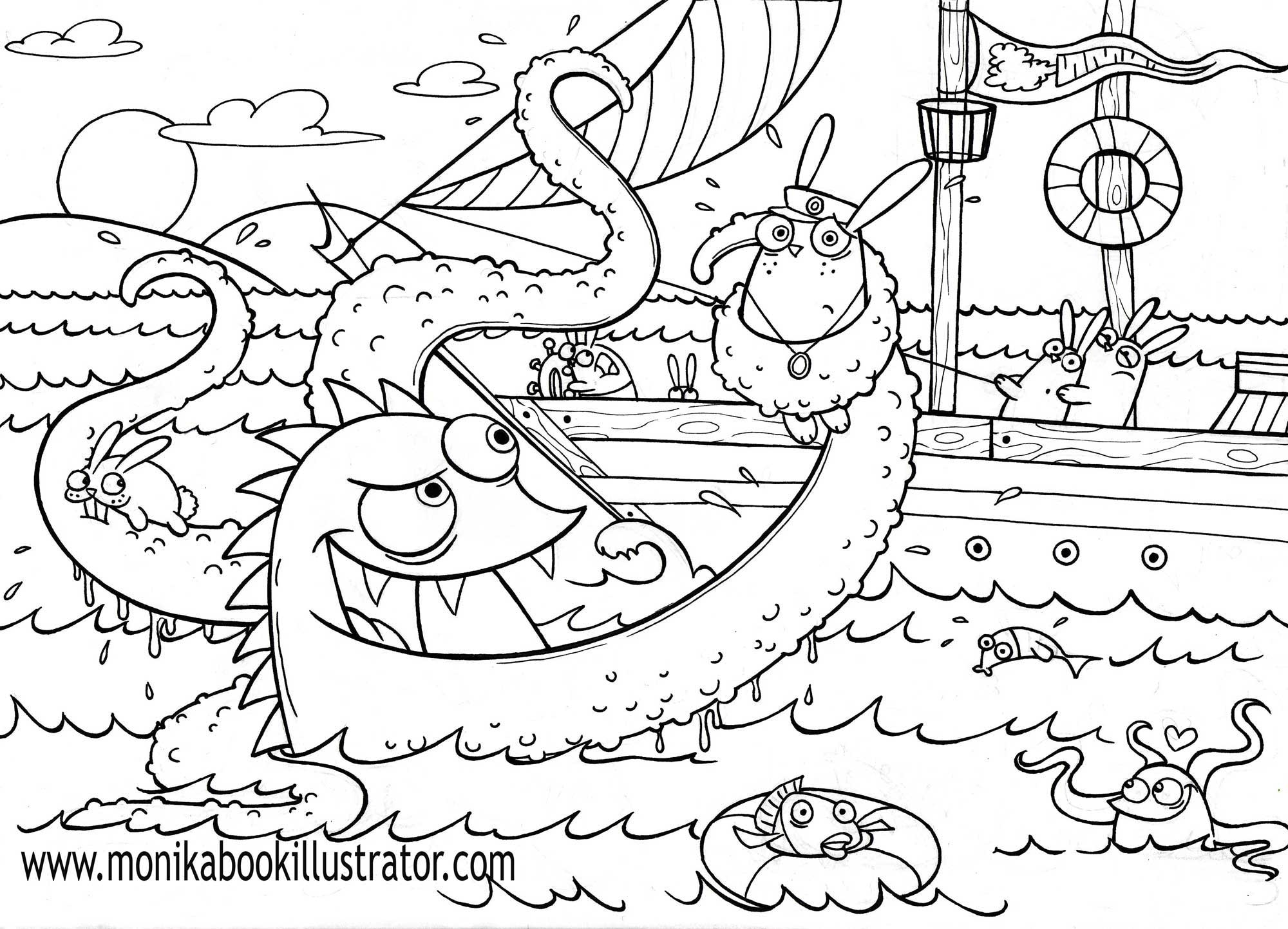 free swear word coloring pages - monsters coloring page