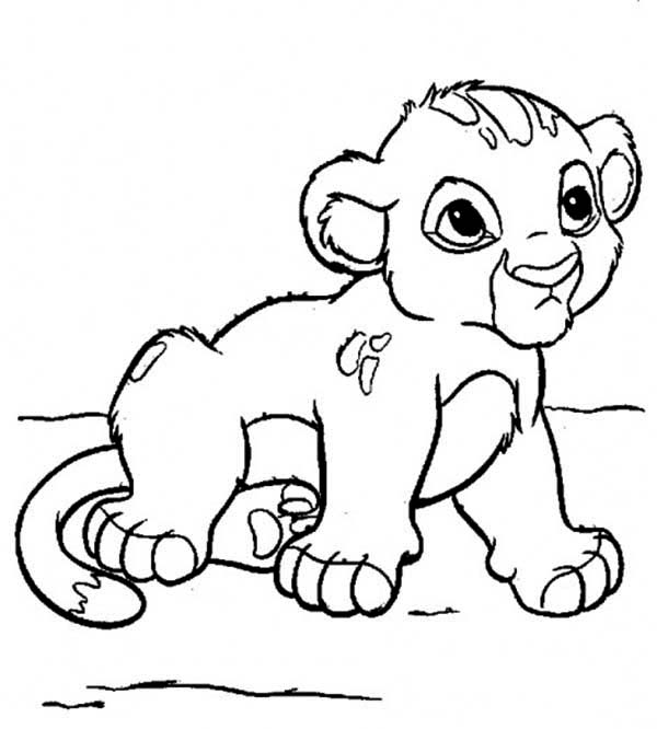 free winter coloring pages - cute little simba coloring page
