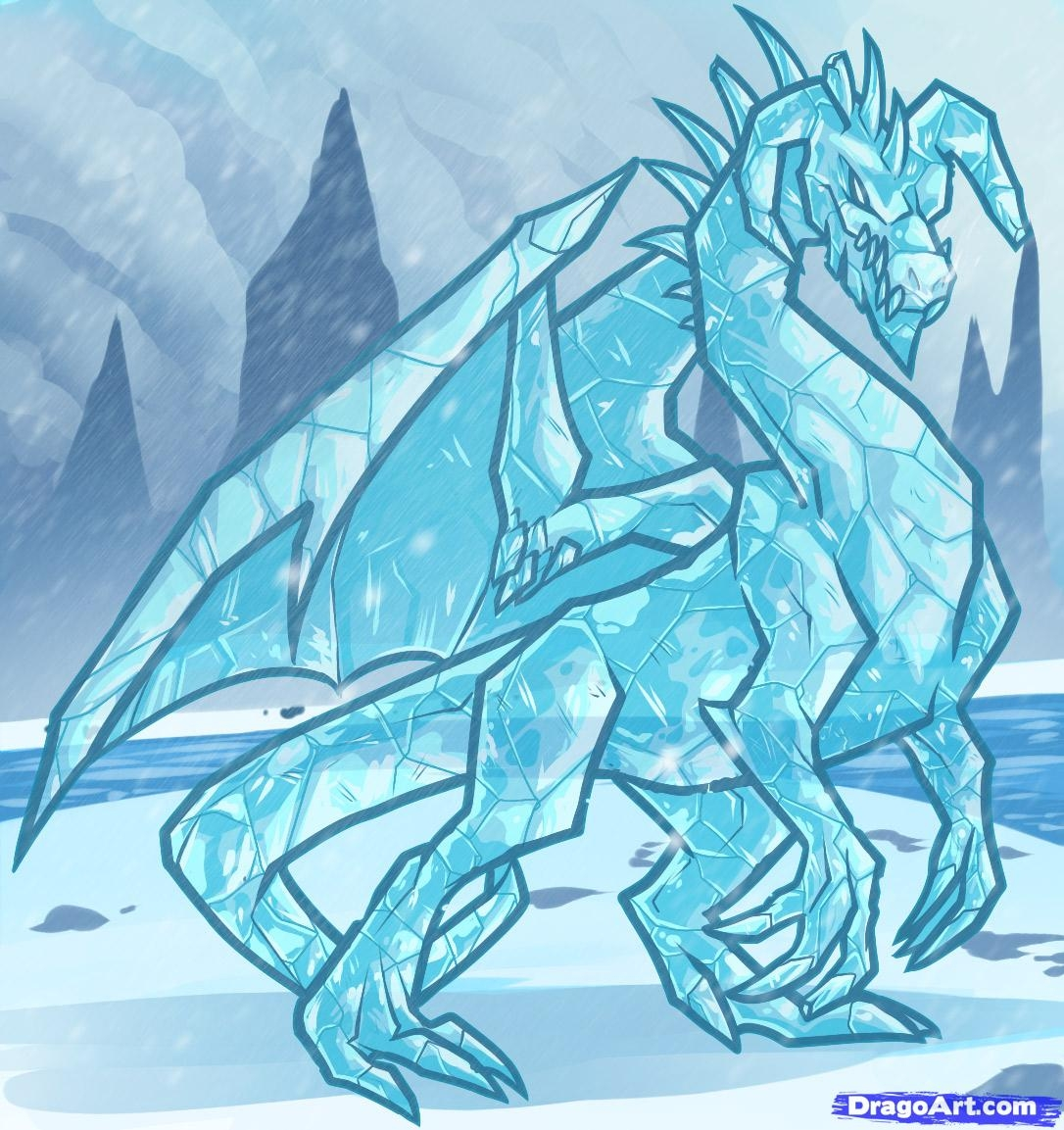 free winter coloring pages - how to draw an ice dragon ice dragon