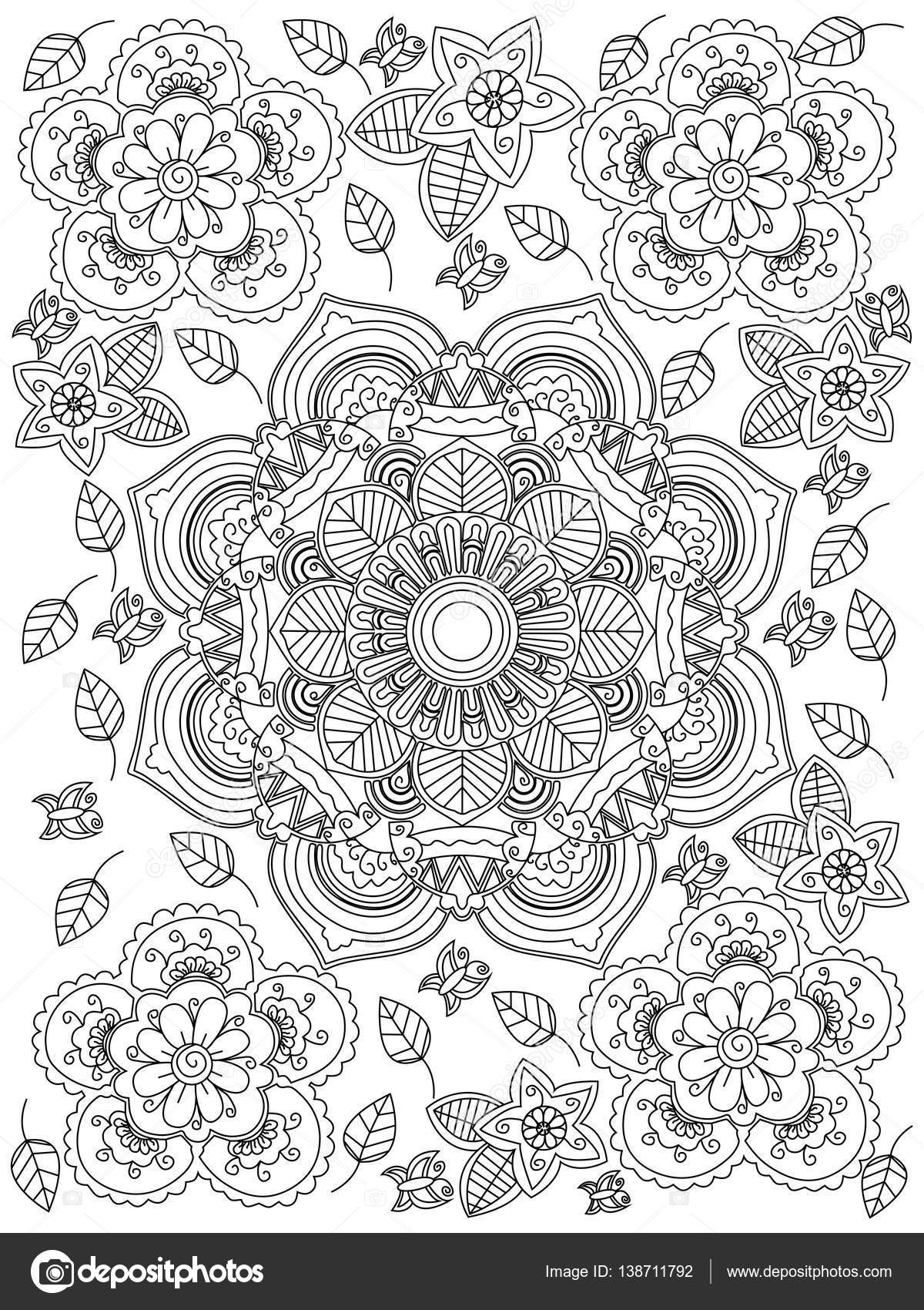 frida kahlo coloring pages - stock illustration mandala flower coloring vector for