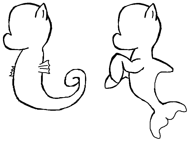 friendship coloring pages - Sea pony template