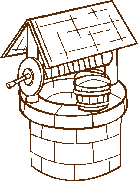 friendship coloring pages - clipart wishing well