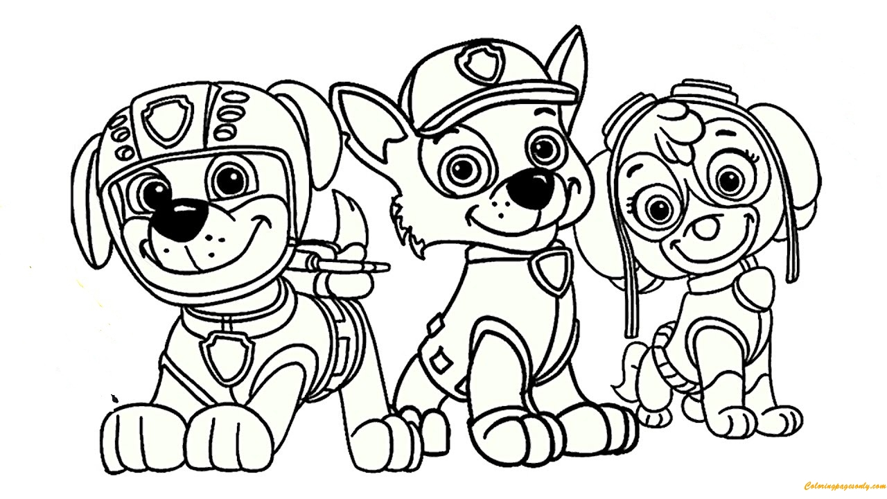 frozen coloring pages free - paw patrol rocky skye and zuma