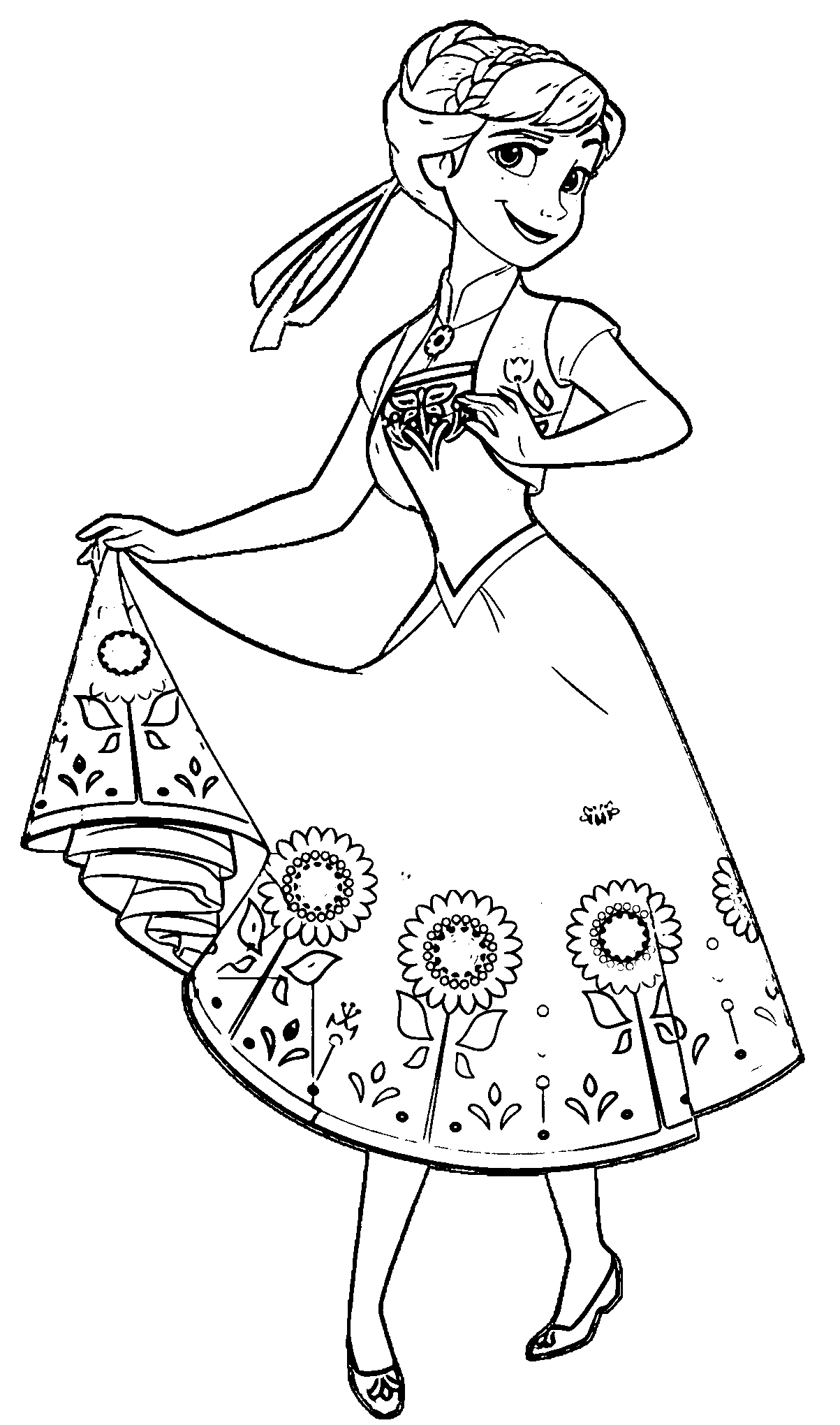 frozen fever coloring pages - anna coloring pages
