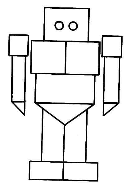 fruits and vegetables coloring pages - robot shapes coloring page 2