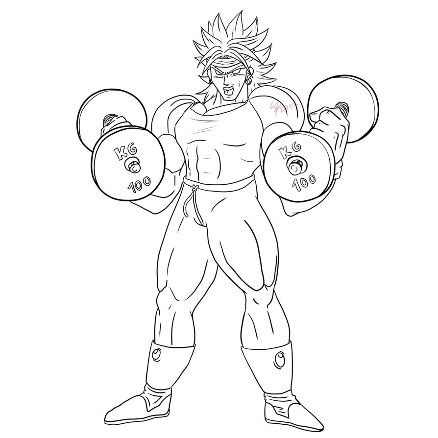 full page coloring pages - Broly the trainer lineart