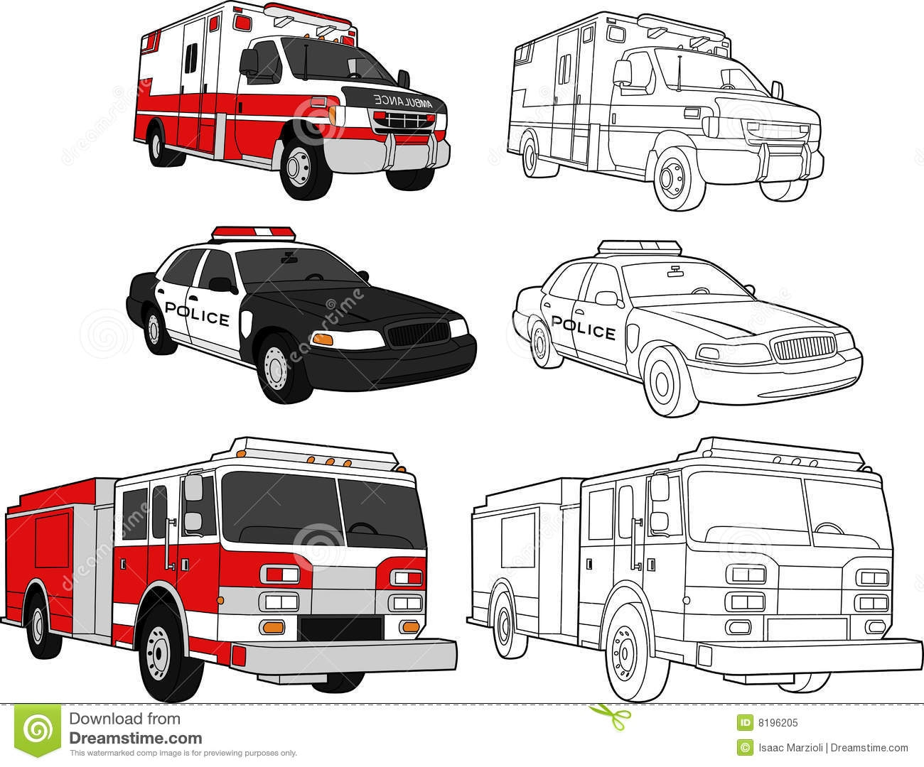 garbage truck coloring page - royalty free stock photo ambulance police car fire engine image