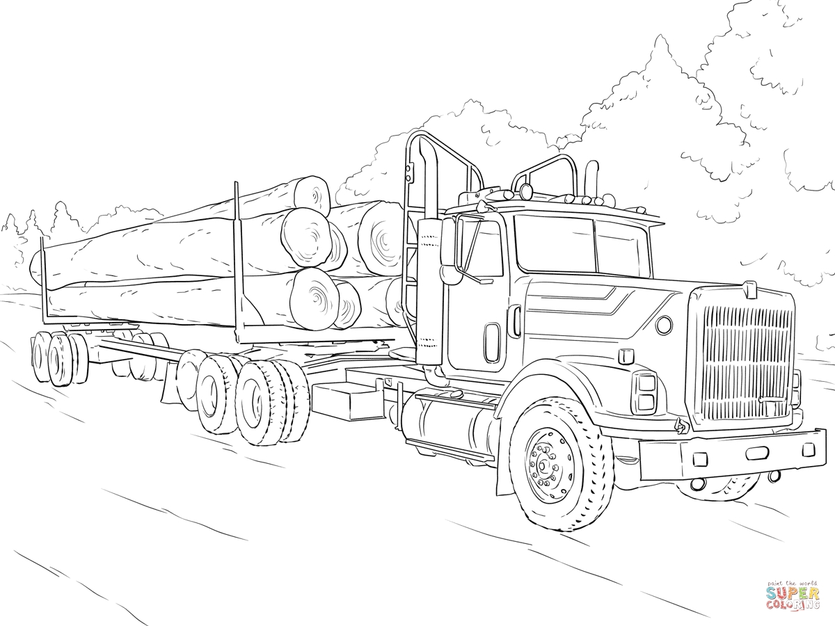 garbage truck coloring page - log truck