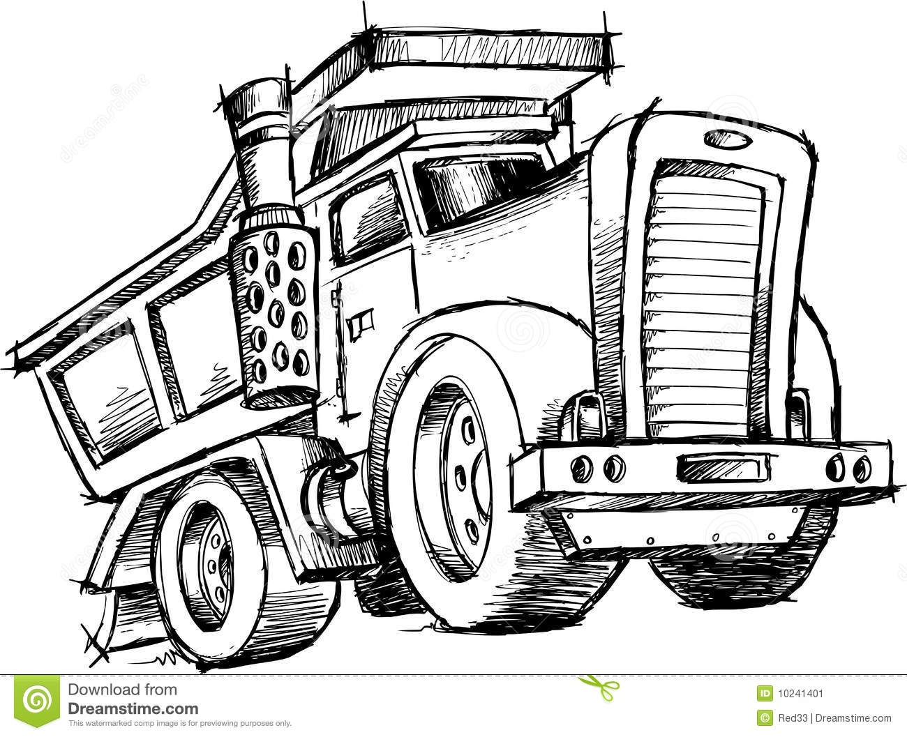 garbage truck coloring page - stock image sketchy dump truck vector image