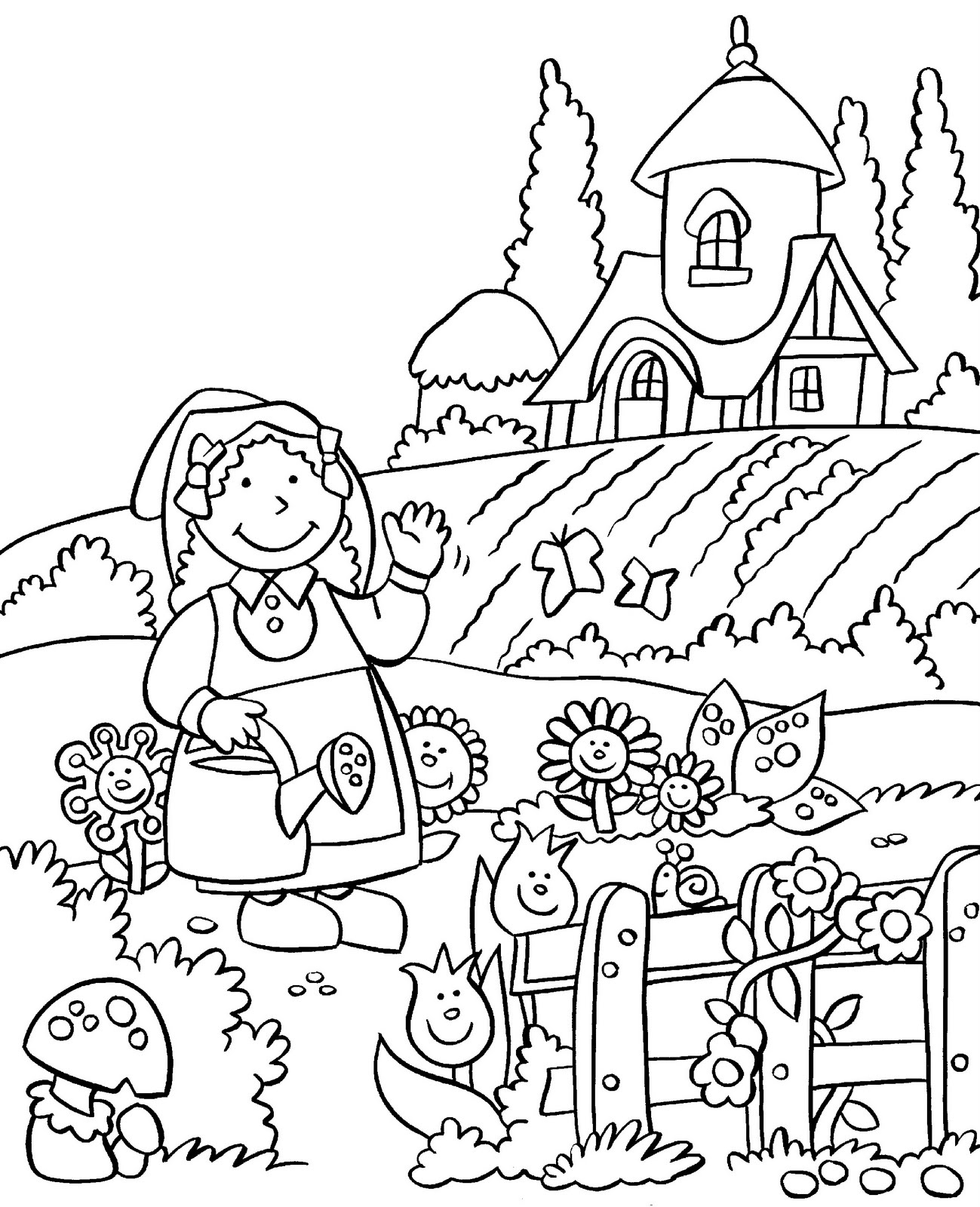 garden coloring pages - anna and flower garden coloring pages