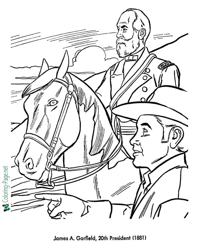 Garfield Coloring Pages - Us Presidents Coloring Pages James Garfield
