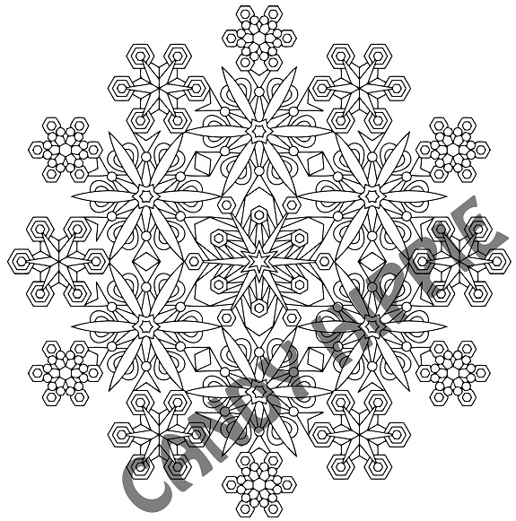 geometric coloring pages - snowflakes christmas mandala