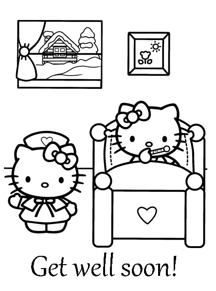 get coloring pages - well soon coloring sheet hello
