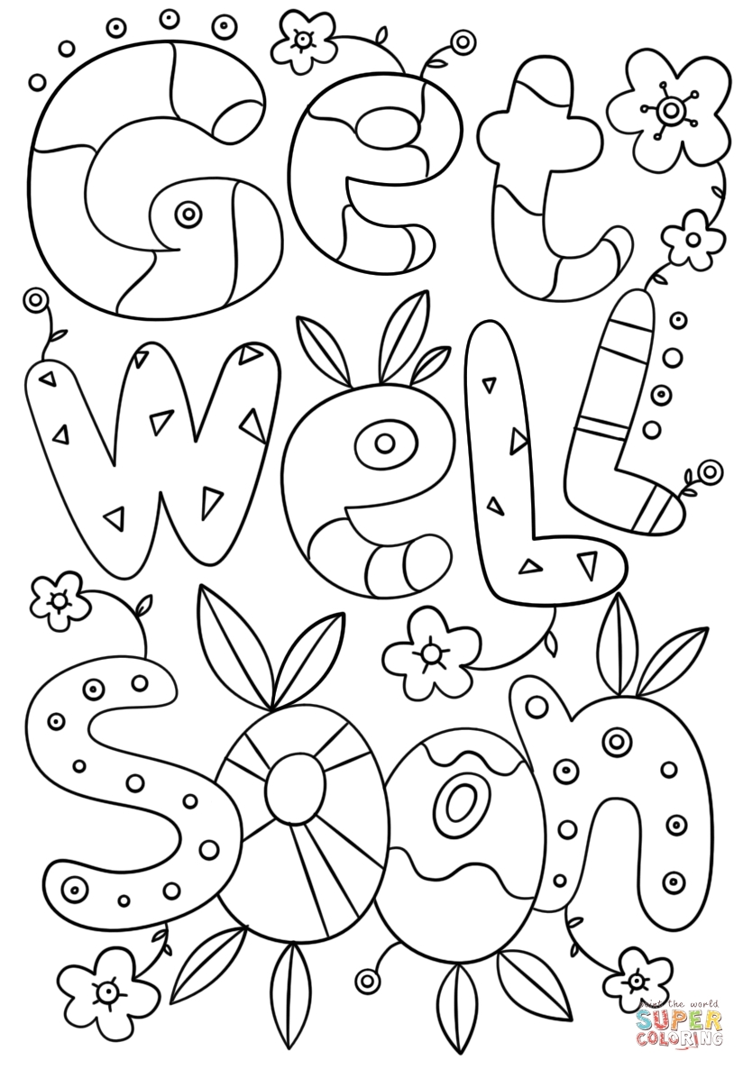 Get Coloring Pages - Get Well soon Doodle Coloring Page
