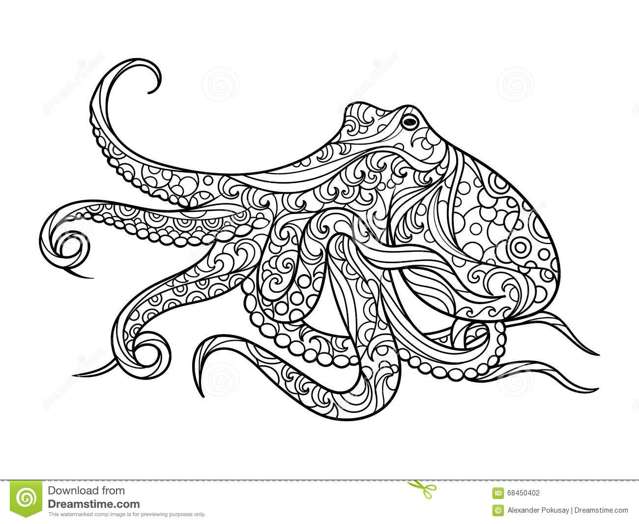 giant coloring pages for adults - stock illustration octopus coloring book adults vector sea animal illustration anti stress adult zentangle style black white image