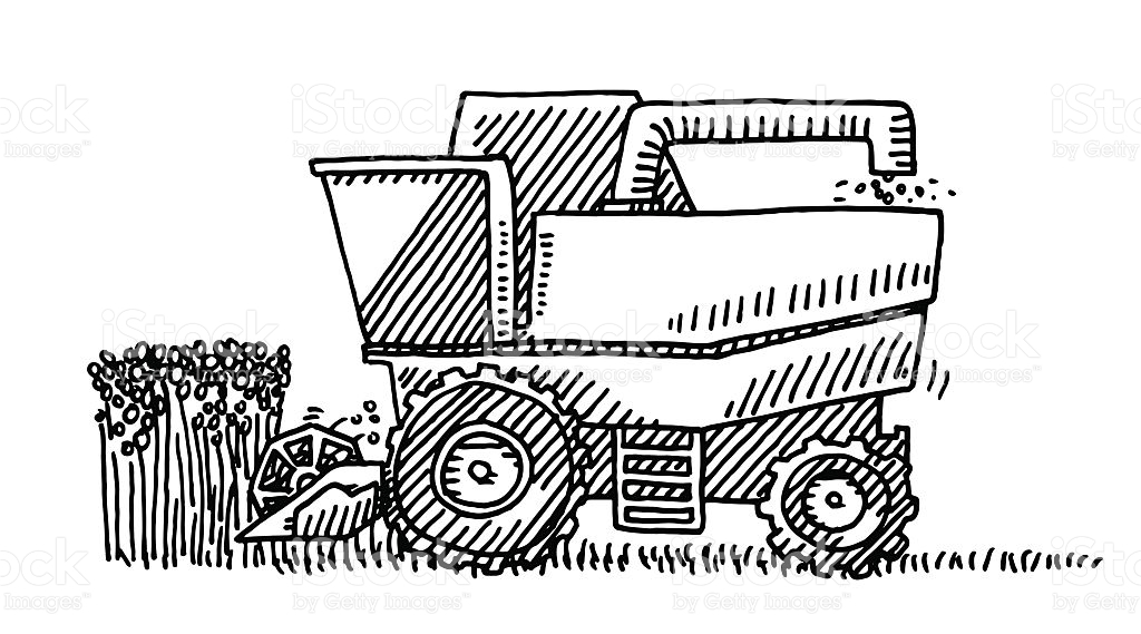gideon coloring pages - harvester agricultural vehicle drawing gm