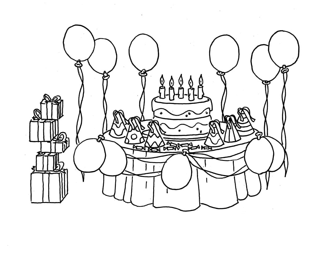 gingerbread coloring pages - birthday party coloring pages birthday party coloring page ziho coloring