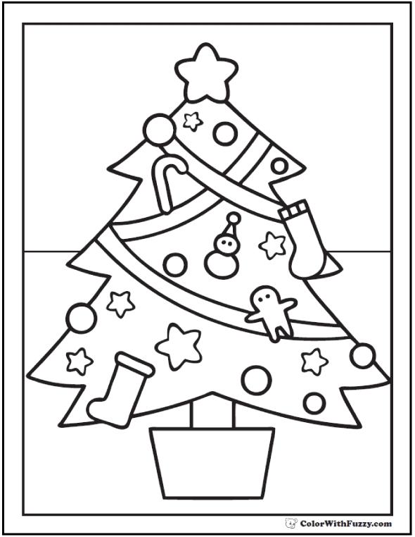 gingerbread coloring pages - christmas tree coloring page