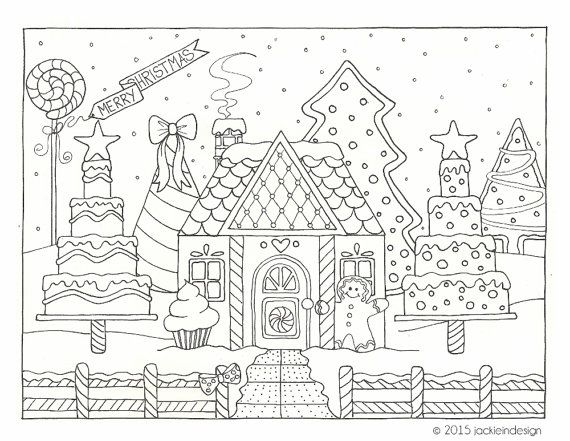 Gingerbread House Coloring Pages - 1000 Images About Coloring Pages Holiday On Pinterest