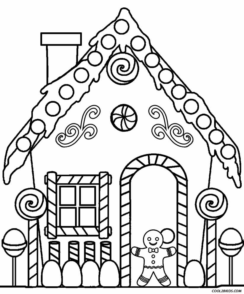 Gingerbread House Coloring Pages - Printable Gingerbread House Coloring Pages for Kids