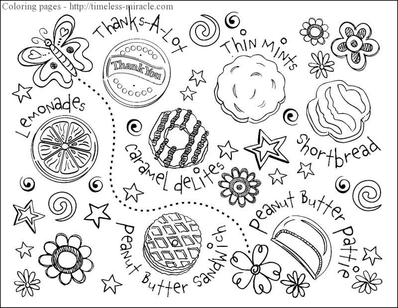 girl scout cookie coloring pages - girl scout cookie coloring sheets