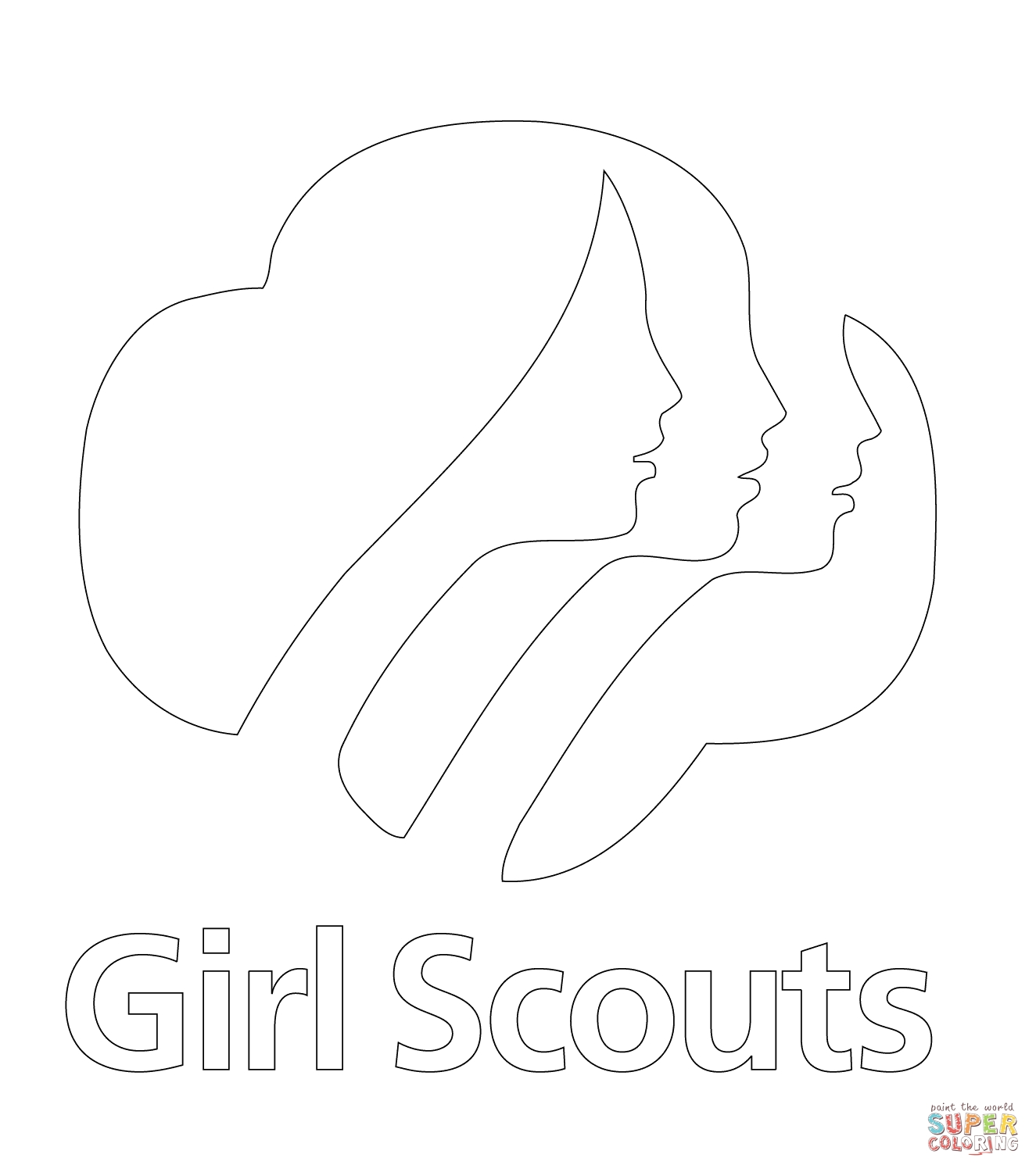 girl scout cookie coloring pages - girl scouts logo