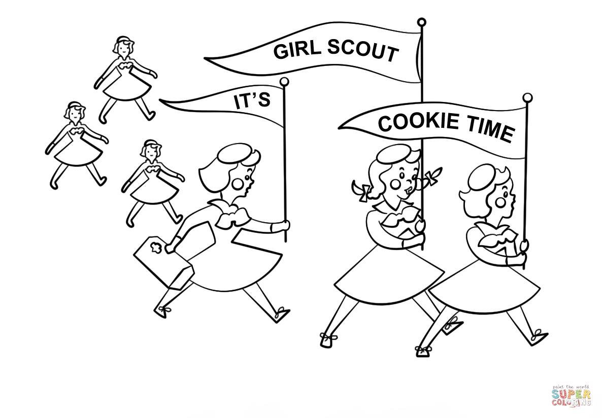 girl scout cookie coloring pages - its girl scout cookie time