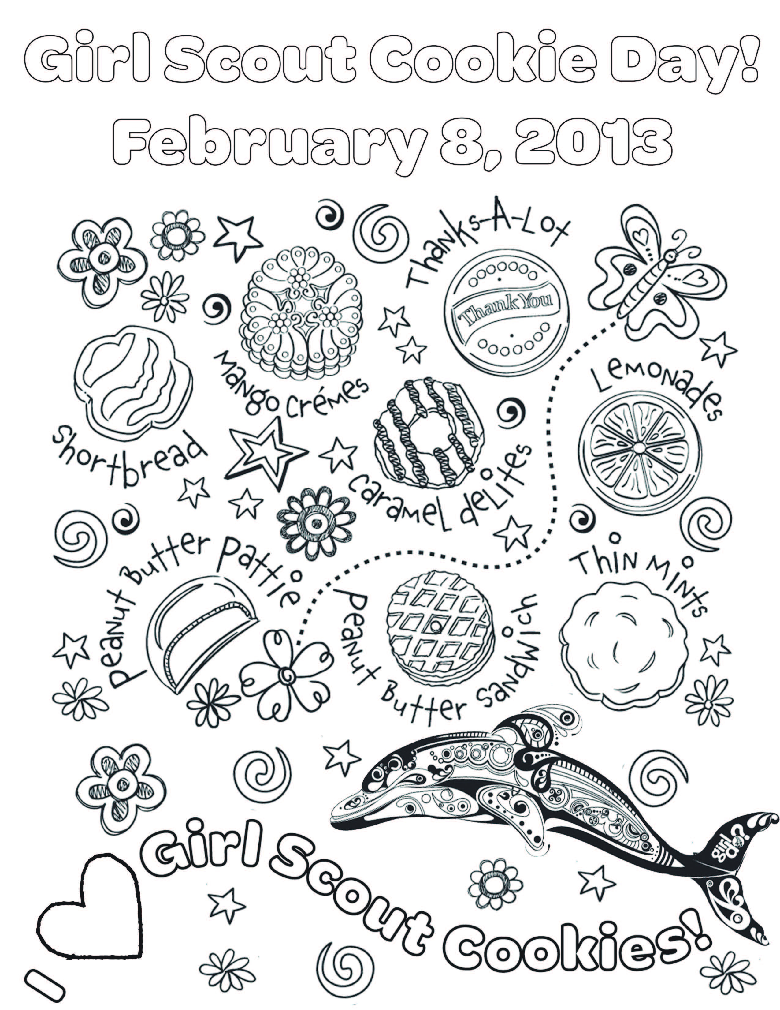 girl scout cookie coloring pages - national girl scout cookie day on feb 8th